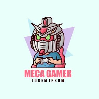 Een jongen die robothoofd kostuum draagt videospel spelen mascot-logo