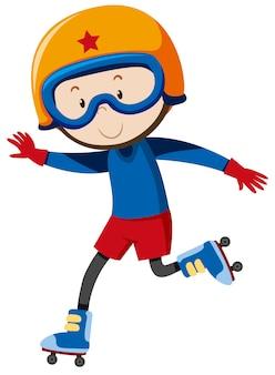 Een jongen die rollerblades speelt