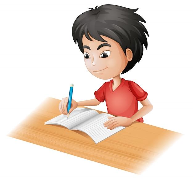 Een jongen die schetst
