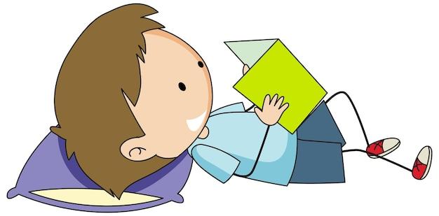 Een jongen die stripfiguur uit een boek leest