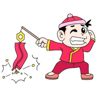 Een jongen die vuurwerk speelt om chinees nieuwjaar te vieren, doodle trekt kawaii. vector illustratie kunst