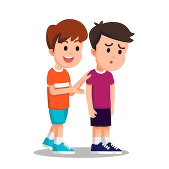 Een jongen die zijn vriend probeert te troosten die er verdrietig uitziet Premium Vector