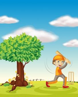 Een jongen en een boom