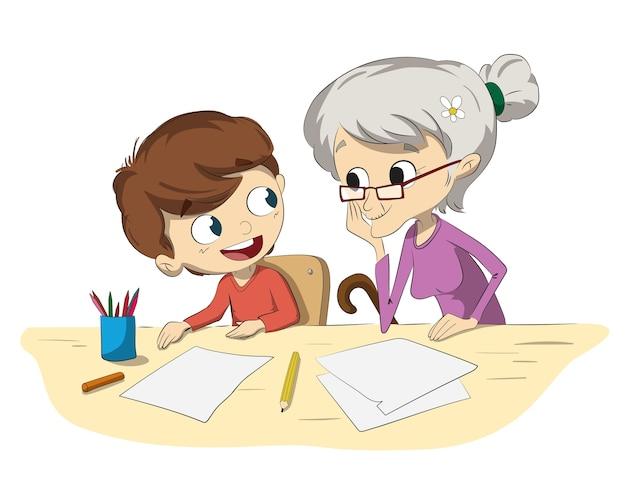 Een jongen en een grootmoeder die hun huiswerk doen
