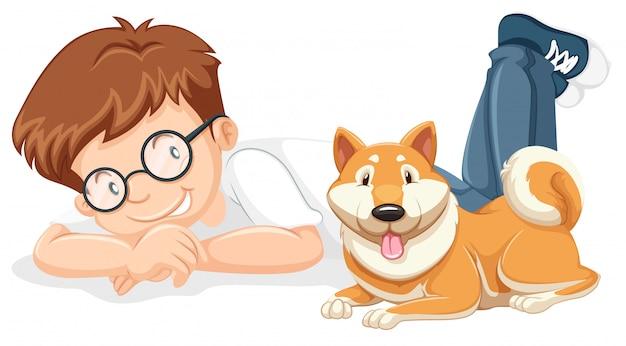 Een jongen en een lieve hond