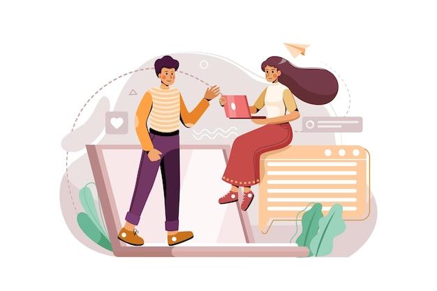 Een jongen en een meisje hebben onlinevergadering door hun laptop illustratieconcept