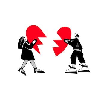 Een jongen en een meisje houden een gebroken hart vast. een verliefd stel probeert hun relatie te herstellen. vector illustratie