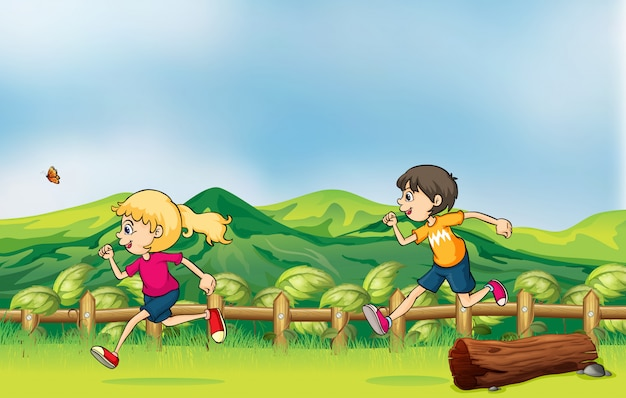 Een jongen en een meisje joggen