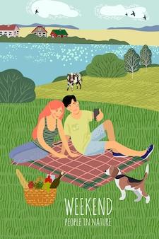 Een jongen en een meisje, rustend op de natuur
