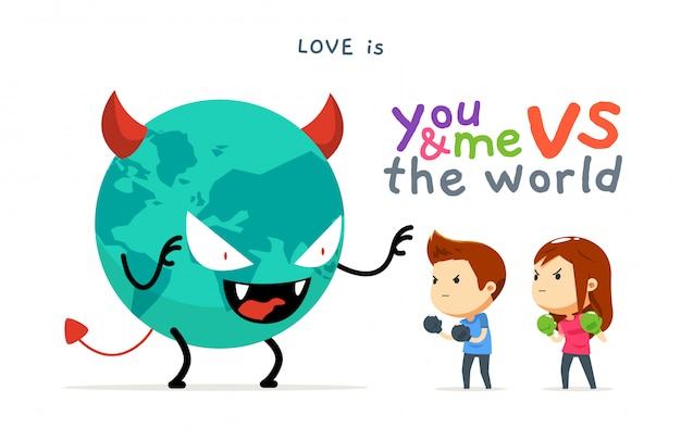 Een jongen en een meisje versus de slechte wereld