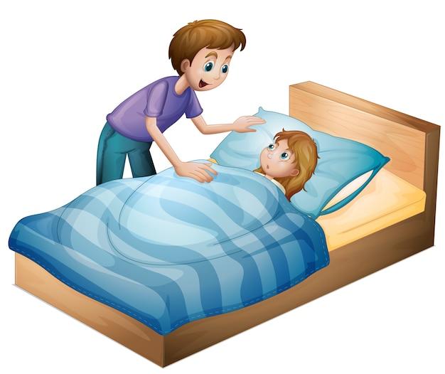 Een jongen en een slapend meisje