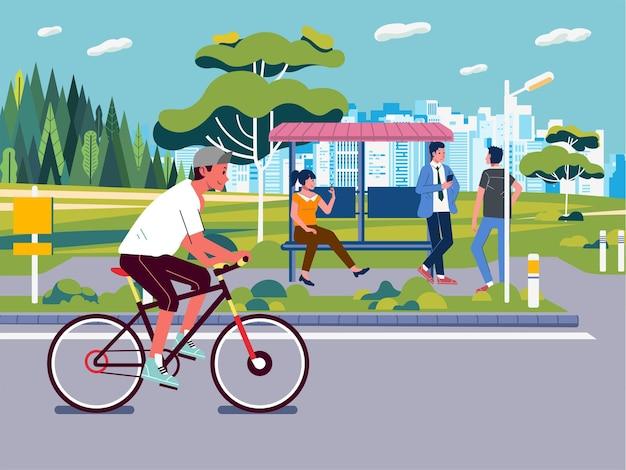 Een jongen fietst door de stad
