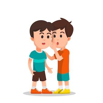 Een jongen fluisterde zijn vriend een geheim in