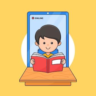 Een jongen geniet van lezen voor online studeren met cartoon illustratie van smartphone