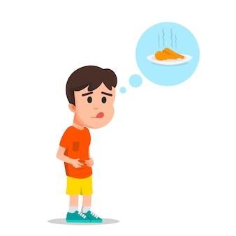 Een jongen heeft honger en wil gebakken kip