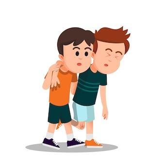 Een jongen helpt zijn gewonde vriend lopen