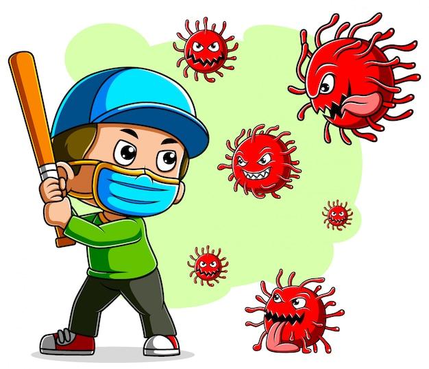 Een jongen honkbalspeler met masker strijd coronavirus
