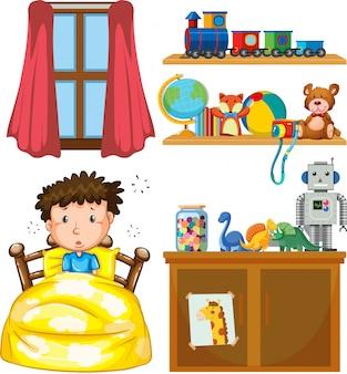 Een jongen in de slaapkamer
