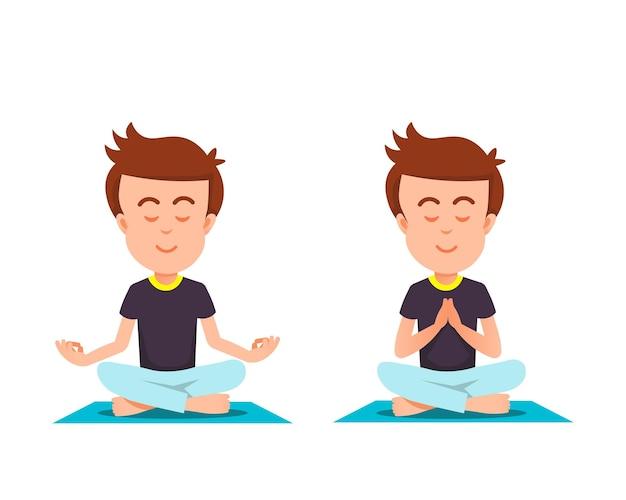 Een jongen in een plechtige meditatiehouding