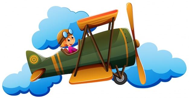 Een jongen in een vliegtuig