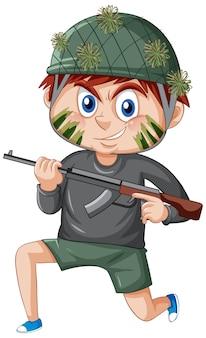 Een jongen in soldaat kostuum stripfiguur