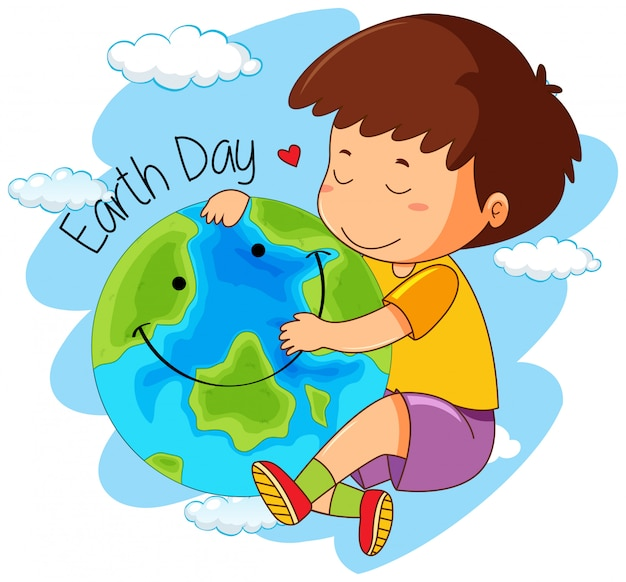 Een jongen is dol op de aarde