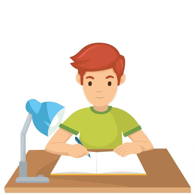 Een jongen leert morgen voor het examen