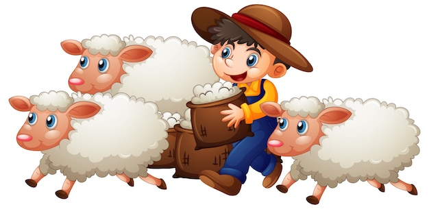 Een jongen met drie schattige schapen op witte achtergrond
