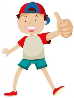 Een jongen met duim die omhoog in gelukkige geïsoleerde stemming stelt