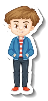 Een jongen met een sticker met een stripfiguur van een jas
