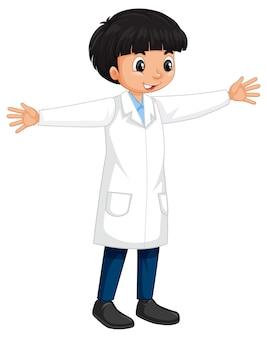 Een jongen met een stripfiguur in een laboratoriumjas