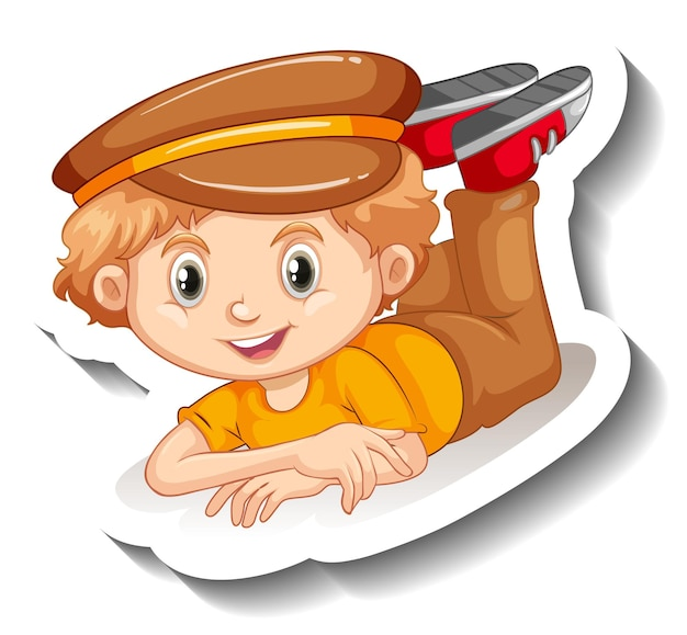 Een jongen met hoed stripfiguur sticker