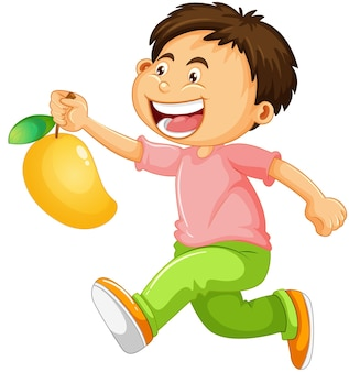 Een jongen met mango fruit stripfiguur geïsoleerd op een witte achtergrond