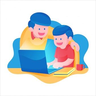 Een jongen met zijn vader die online in school van huisactiviteit leert, voor laptop studeert en kleurrijke themaillustratie boekt