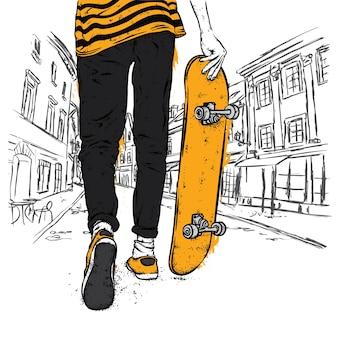 Een jongen of een meisje in stijlvolle kleding en met een skateboard.