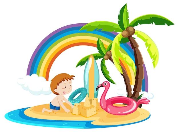 Een jongen op het eiland met zomerse strandartikelen