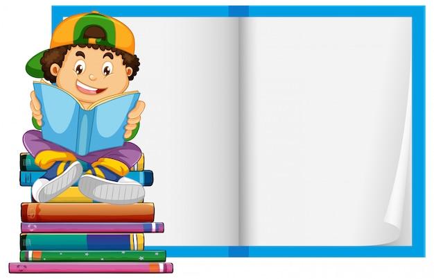 Een jongen op lege boekpagina's achtergrond