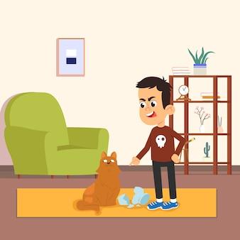 Een jongen scheldt een kat uit die een vaas heeft gebroken.