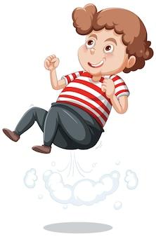 Een jongen springende stripfiguur sticker