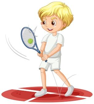 Een jongen stripfiguur racket spelen