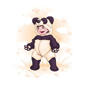 Een jongen verkleed als een panda. kinderen in mooie jurken of pyjama's.