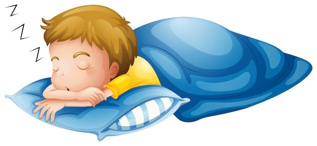 Een jongetje slaapt