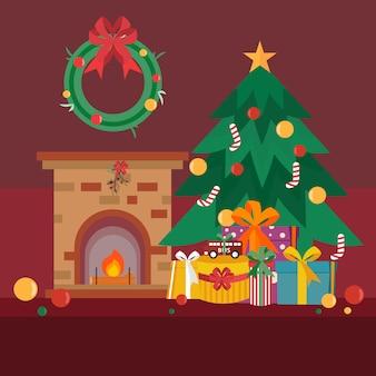 Een kamer versierd met kerstboom en geschenken en open haard op de kerstavond