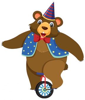 Eén karakter van beer op wiel