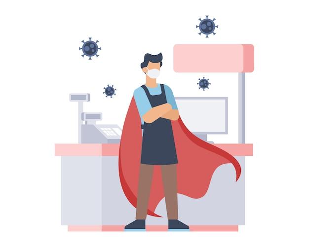 Een kassamedewerker draagt een gezichtsmasker en rode capes als superheld in de illustratie van een coronaviruspandemie