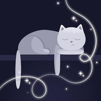 Een kat slapend op een plank kat met een ster