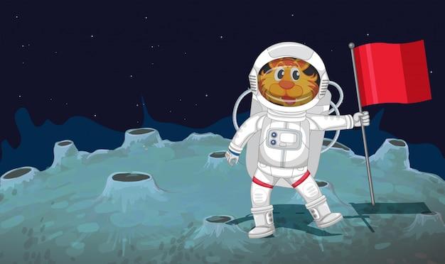 Een kattenastronaut in de ruimte