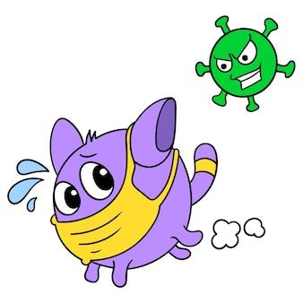 Een kattenwezen dat een wegwerpmasker draagt, rent weg van de achtervolging van het coronavirus, vectorillustratiekunst. doodle pictogram afbeelding kawaii.