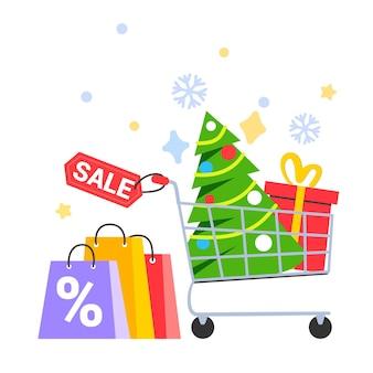 Een kerstboom in een winkelwagentje kopen voor het nieuwe jaar supermarktmand met kerstboom