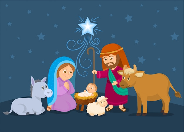 Een kerststal met kerst, jezus, maria en jozef.